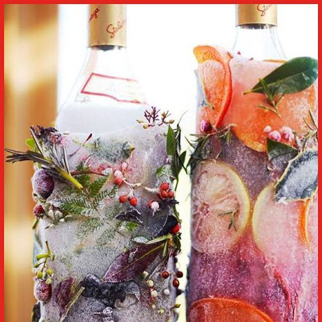 December 8: Frozen festive bottles for the Christmas Party⠀ ⠀ Method: ⠀ 1. Cut the top off a 2-litre plastic bottle or carton, pop the bottle of vodka, gin, tequila or whatever you fancy in there.⠀ 2. Fill inside the plastic bottle with water then shove leaves, sprigs of herbs, holly branches and berries, and sliced citrus or zest all around the side.⠀ 3. Stand this carefully in the freezer and leave it for a few hours so everything freezes around the bottle.⠀ When you're ready to serve it…