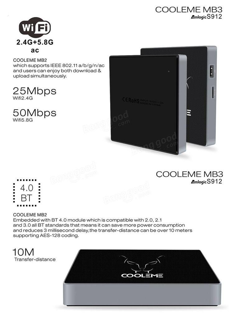 COOLEME® MB3 Amlogic S912 Octa Core 2G DDR3 RAM 32G eMMC ROM AC 2.4G + 5.8G WIFI 1000M LAN Bluetooth 4.0 Android 6.0 VP9 HDR10 H.265 TV BOX