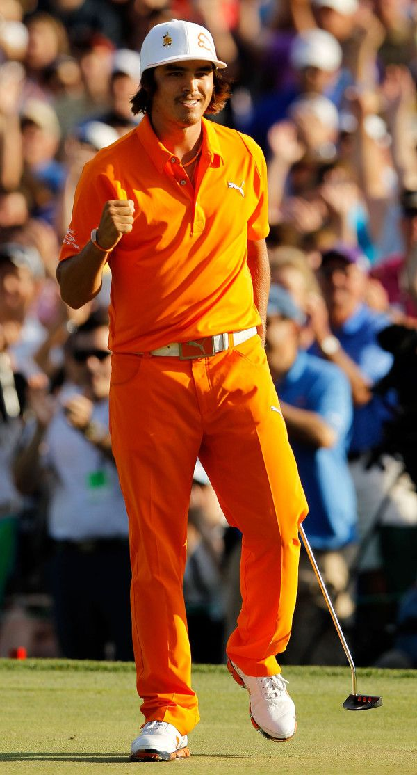 Q: What did Rickie Fowler wear on Sunday? A: Puma's 210 Monoline cap; Duo Swing Mesh polo; High Shine belt; 5-PKT Tech pants; Super Cell Fusion Ice shoes.