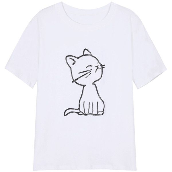 Round Neck Cat Print Loose T-shirt featuring polyvore, fashion, clothing, tops, t-shirts, shirts, romwe, white, loose shirts, loose white shirt, white t shirt, polyester t shirts and white tee