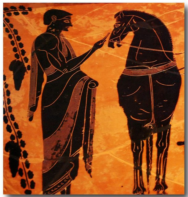 Ancient Greek pottery detail of man with his horse.