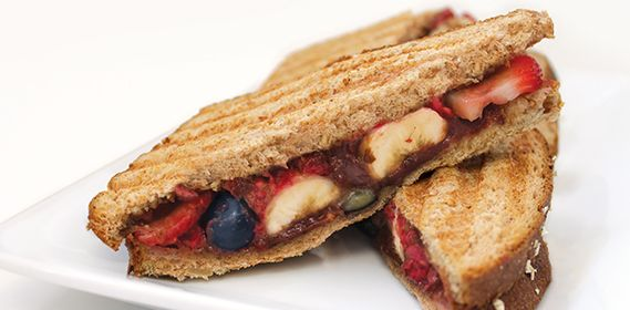 Great idea! A sweet panini recipe with fruit and hazelnut spread. Sub with peanut or almond butter for more protein.