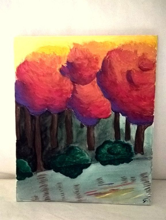 Sundown in my mind - colourful painting by ColourMovement on Etsy