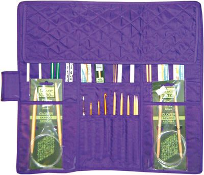 Quilted Cotton Knitting Needle Case-Purple