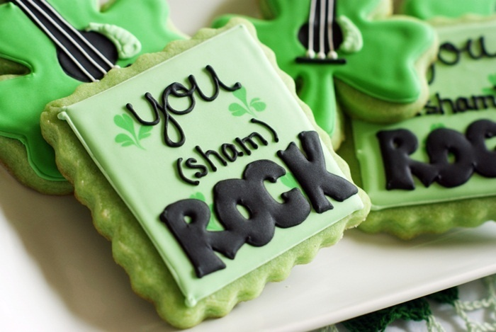 You (sham) ROCK!  Cookies from Bake at 350.  Includes tutorial on how to make the guitar shamrocks.