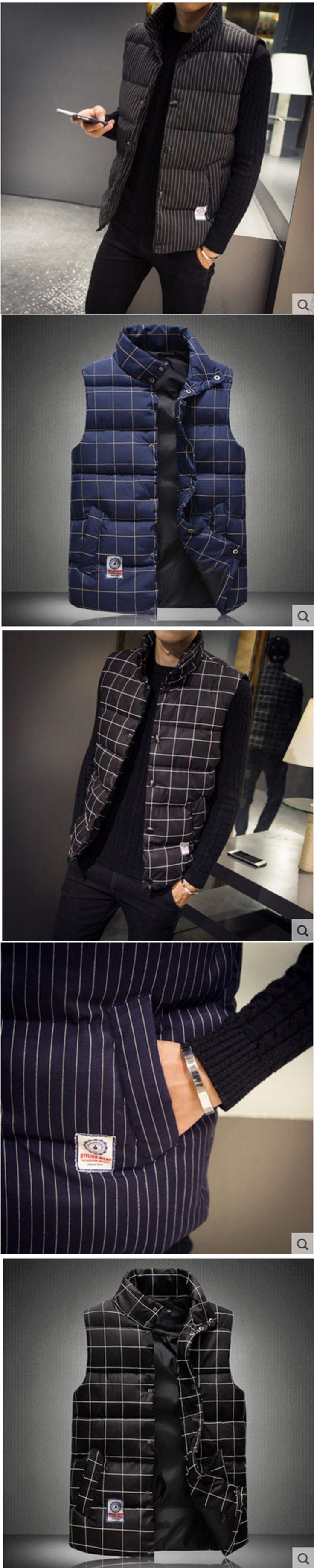 Autumn and winter cotton vest men large size striped plaid imitation feather vest men socks slash shoulder jacket