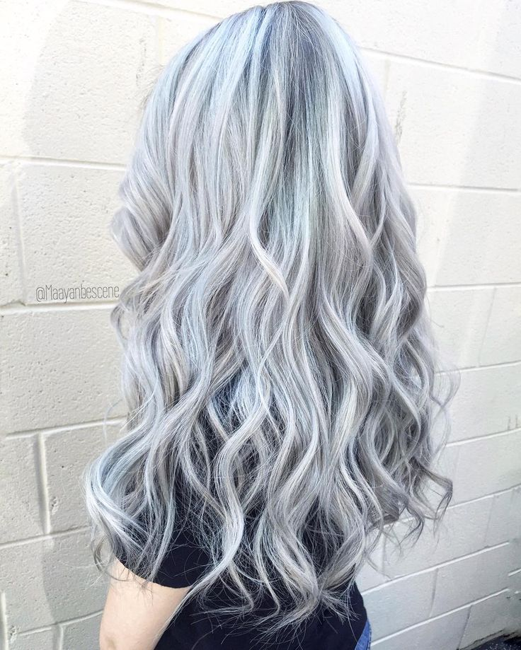 Long silver hair color