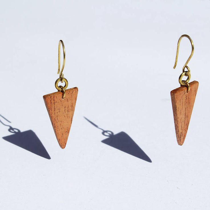 Wood Triangle Mamba Earrings