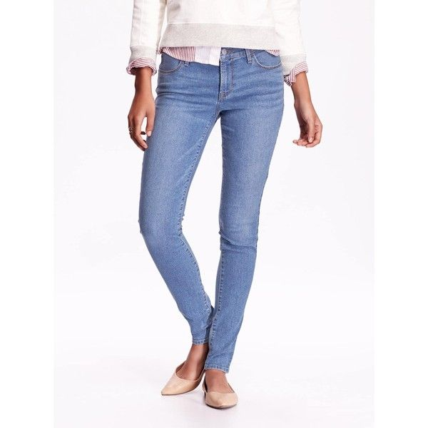 Old Navy Womens Mid Rise Super Skinny Jeggings ($19) ❤ liked on Polyvore featuring pants, leggings, stretch denim leggings, old navy leggings, white short leggings, petite jeggings and white jeggings