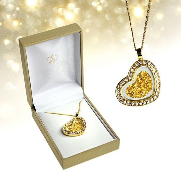 Diese vergoldete Herz Halskette mit Strass ist ein romantisches Geschenk für deine Frau oder Freundin. Zum Valentinstag, Jahrestag oder Geburtstag!