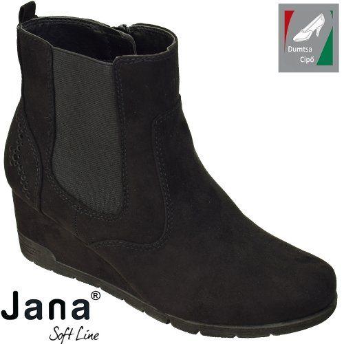 Jana Soft Line női bokacsizma 8-25373-21 001 fekete ekkor  2018 ... b18eac8b32