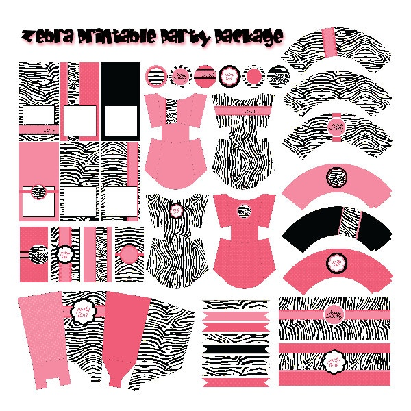 Hot Pink Zebra Birthday Party Printable Package, DYI PDF