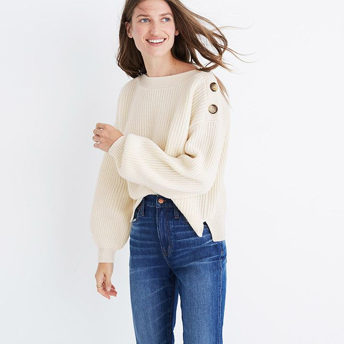Madewell Boat Neck Bubble Sleeve Sweater