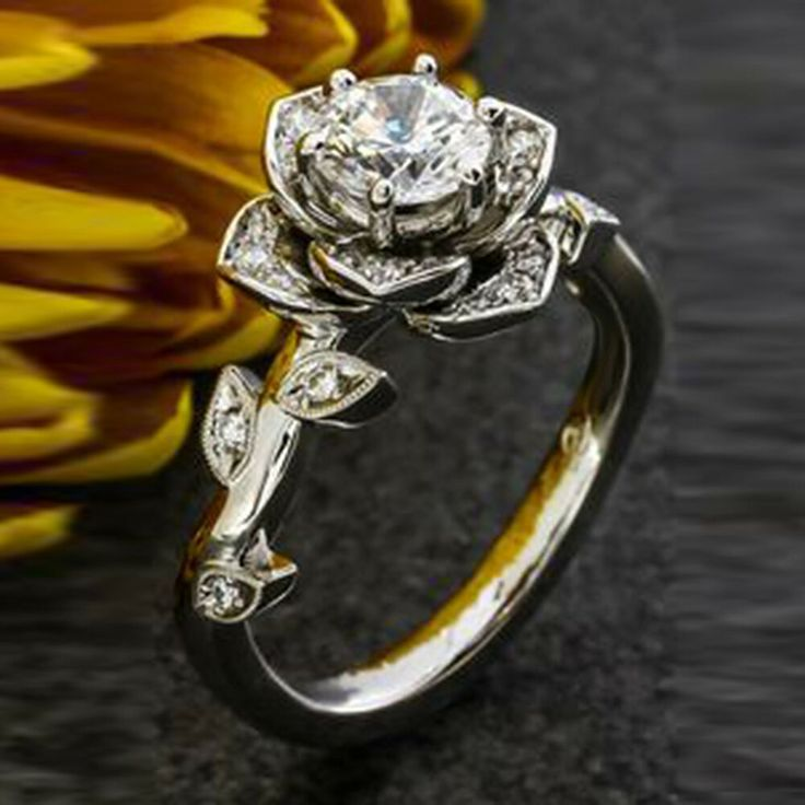 Details about 10k Real White Gold 1.50ct Round Cut Diamond Lotus Flower Design Engagement Ring