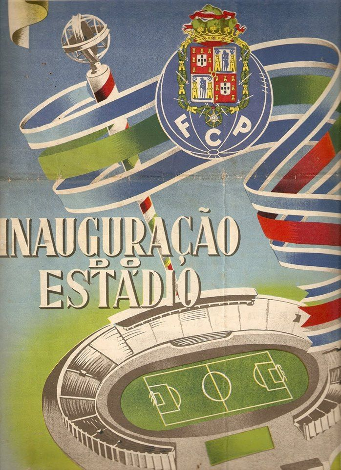 Cartaz da inauguração do estádio das Antas.