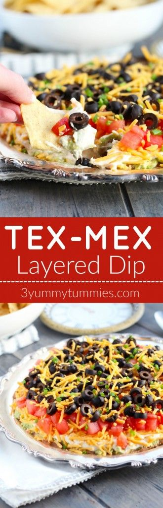 This easy Tex-Mex or Taco Dip is loaded with layers of black bean, avocado, seasoned sour cream and plenty of cheddar.  A family favorite!