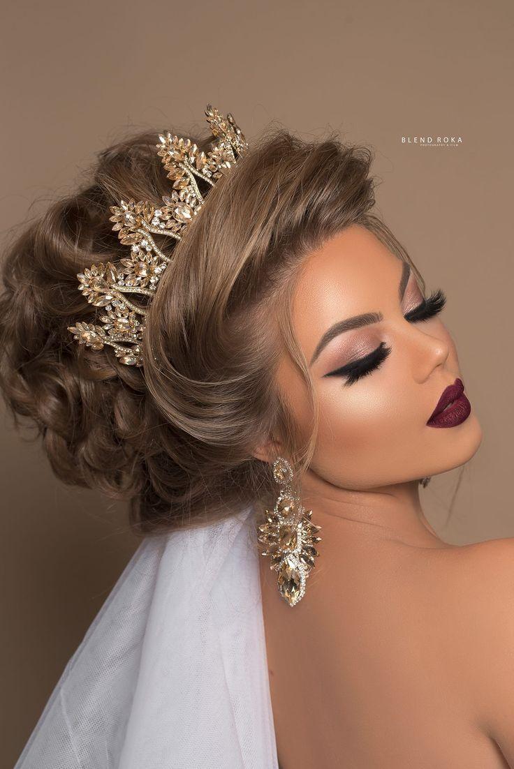 Bridal Crown Makeup Easy Hairstyles Medium Hair Styles Wedding Hair And Makeup