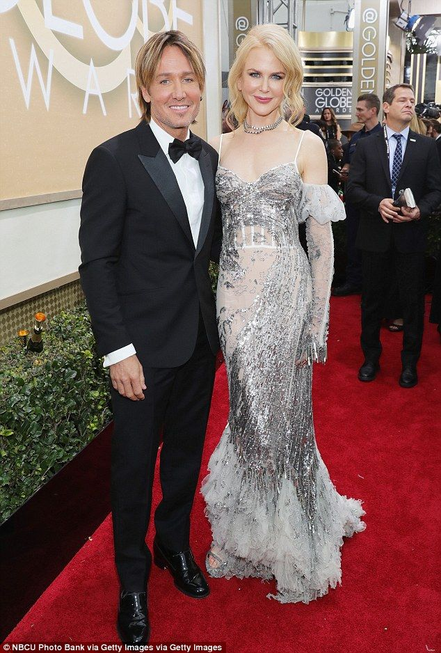 Gorgeous: Nicole Kidman and Keith Urban looked as happy as ever as they attended the 2017 Golden Globes in Los Angeles on Sunday night
