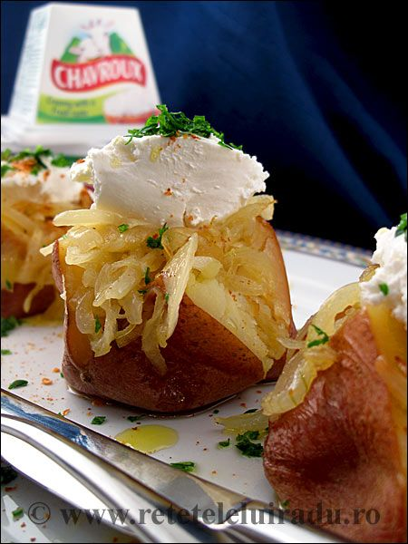 Skin baked potatoes with caramelized onion & French Chavroux soft cheese
