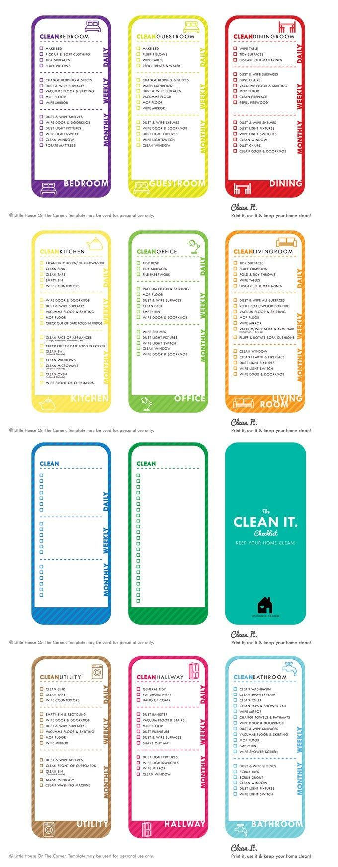 House cleaning checklist in spanish - Cleaning Checklist Free Printable