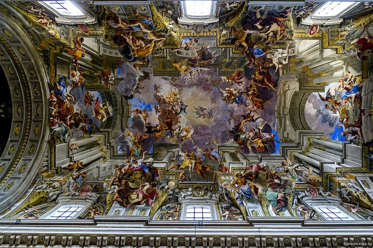 "Sant'Ignazio di Loyola, Rome.  The fresco of the nave vault is the masterpiece of Fr. Andrea Pozzo S. J., who painted it in 1685.  It depicts the ""Apotheosis of St. Ignatius,"""