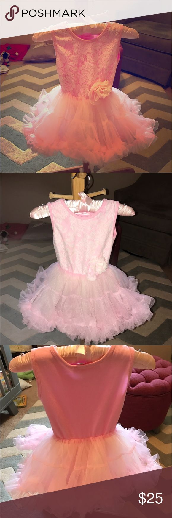 Pink Tutu Dress Like New! Worn once pink tutu dress used only for family pictures. Popatu Dresses
