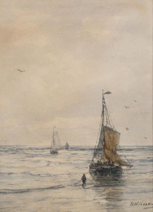 Bomschuiten in the surf, 1899, Hendrik Willem Mesdag. Dutch (1831 - 1915