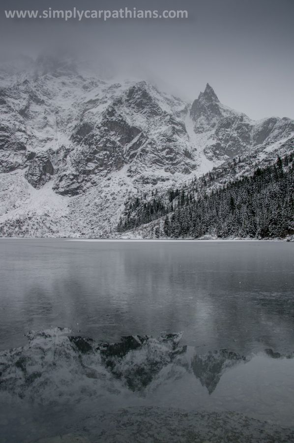 Tatra peaks mirroring in the water of Morskie Oko Lake.