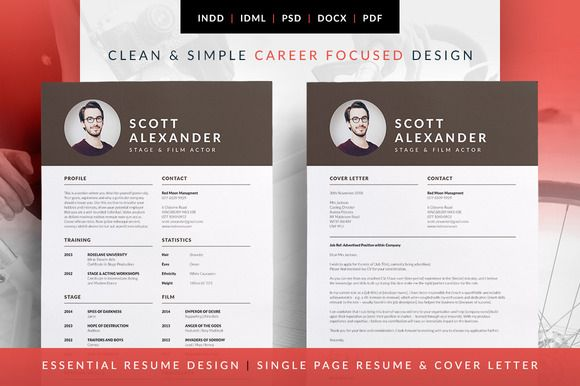 Professional resume / CV and Cover Letter template. Modern design, fresh layout that's easy to edit. Available in MS Word | Photoshop | inDesign | Essential Resume - Scott by bilmaw creative on @creativemarket