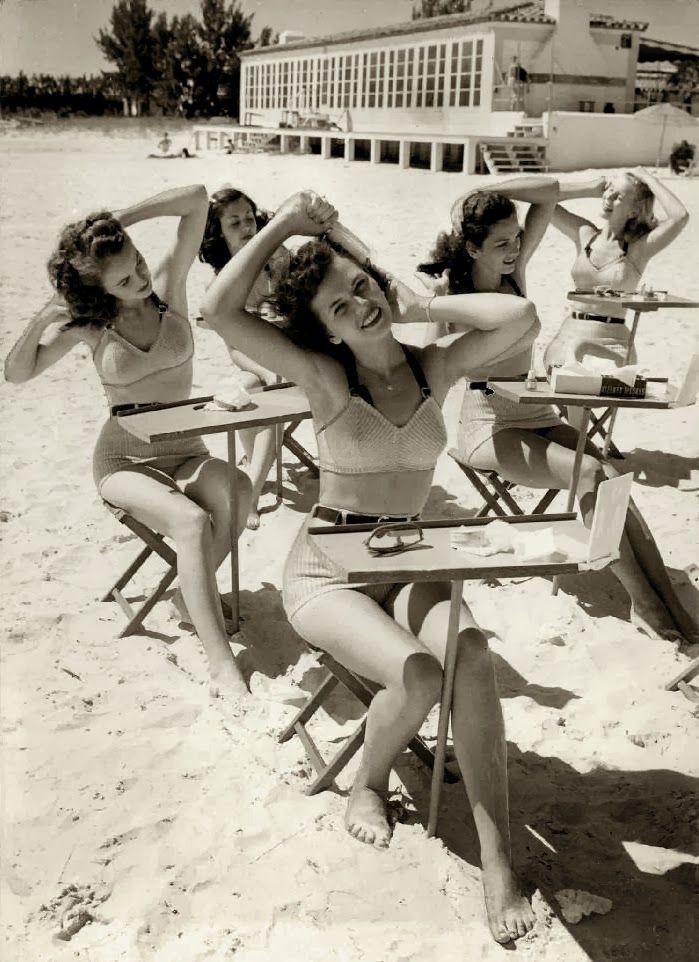 Beauty school at the beach, 1940s