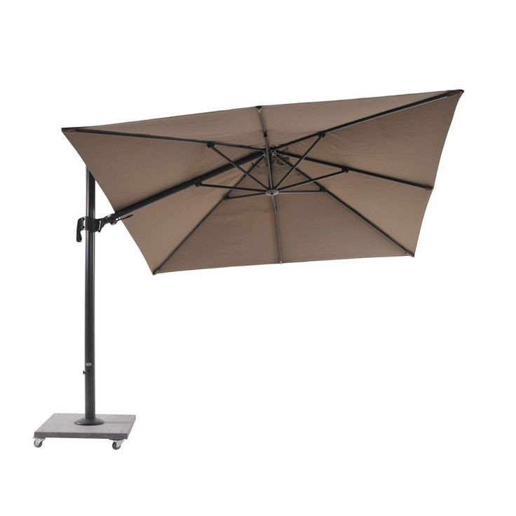 Bellini Home and Garden Block Lava Palermo 10' Cantilever Parasol with Granite Base (Grey Frame / Grey Fabric), Size 10-foot (Aluminum, Solid) #LF01UM110LB2039