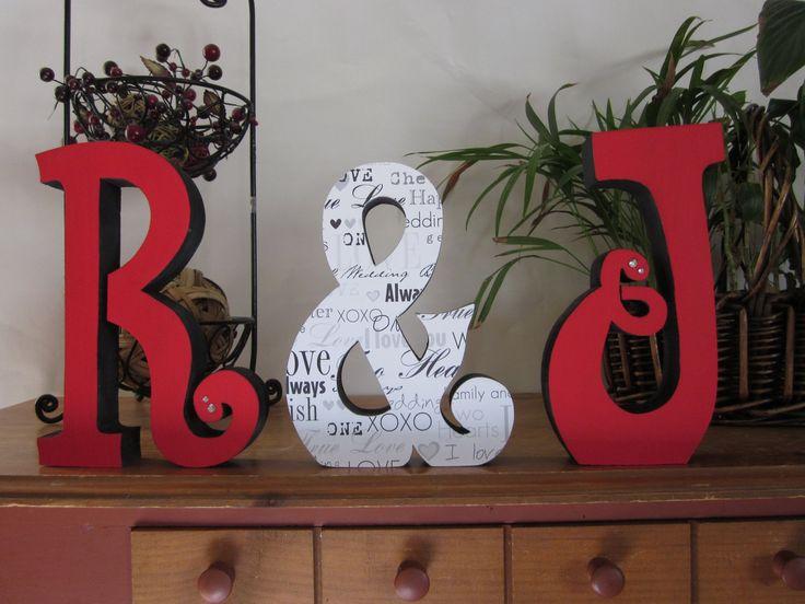 Wedding Reception centerpiece, red and black, wedding decor, photo prop, bride and groom sign, Mr & Mrs Wedding gift. $39.95, via Etsy.