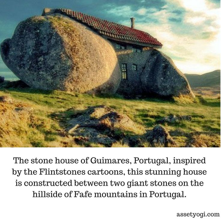 The stone house of Guimares, Portugal, inspired by the Flintstones cartoons, this stunning house is constructed between two giant stones on the hillside of Fafe mountains in Portugal.   #RealEstate #Architecture #TheStoneHouse  #AmazingArchitecture #AssetYogi