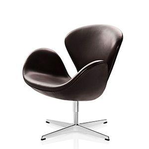 CASANOVA Møbler — Fritz Hansen - Svane Lænestol m. classic læder - sortbrun
