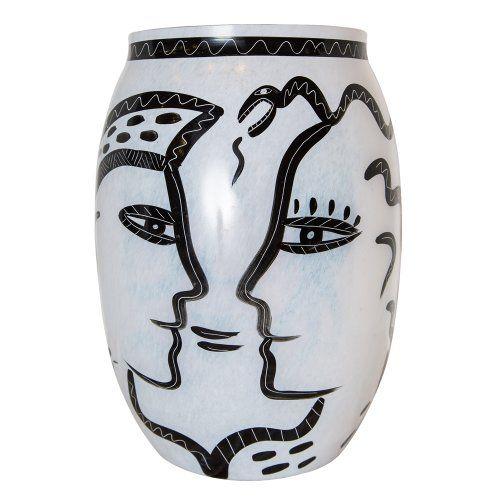 Costa Boda Enamel Glass Vase Signed Ulrica Hydman Vallen