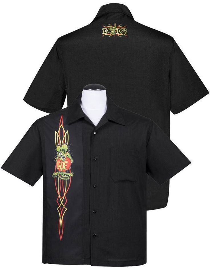 Steady Rockabilly Mechanics Shirt Black Rat Fink Button Front Ed Roth Pin Stripe #ClassicSTEADY #ButtonFront