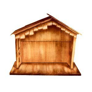 "74"" Large Wooden Outdoor Religious Nativity Stable Christmas Yard Art"