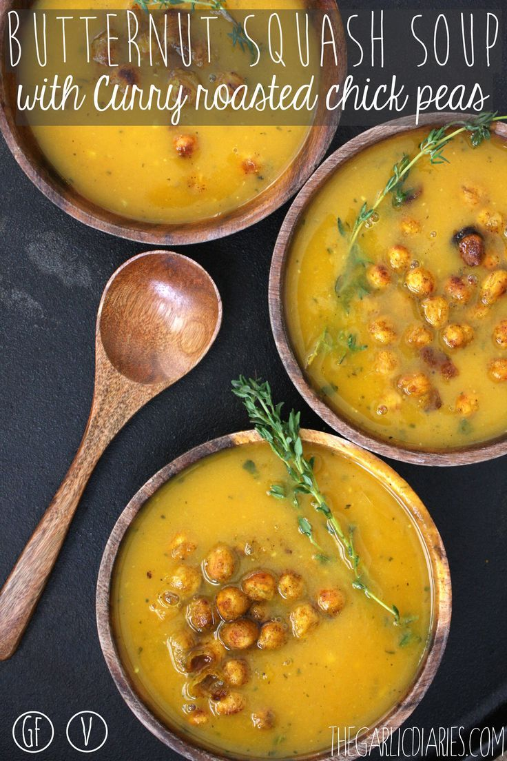 Butternut Squash Soup with Curry Roasted Chickpeas -- TheGarlicDiaries ...