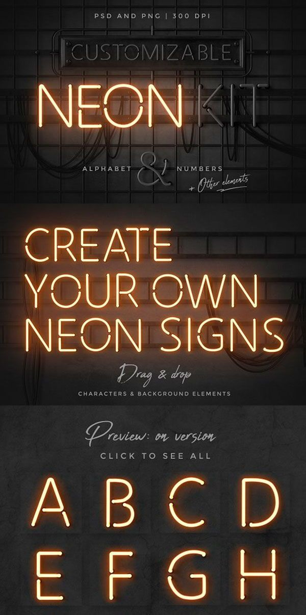 Neon Alphabet Kit Neon Typography Design Neon Typography Neon Design