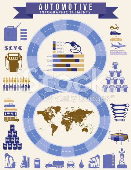 Transportation and Fuel Infographic With Road and Icons royalty-free stock vector art