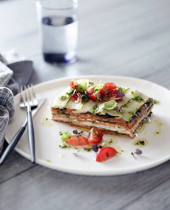 Natural Raw C - Raw Zucchini lasagna with pesto, olives and tomato By Chef Pete Evans