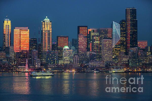 Night ferry closing in on Seattle sunset light.  Photography by Mike Reid #seattle