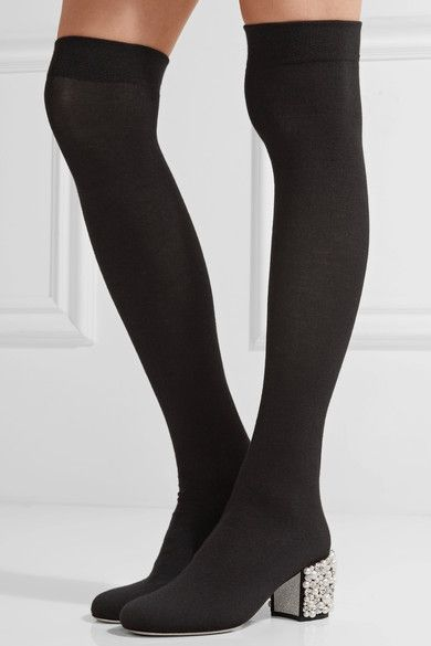 René Caovilla - Embellished Stretch-knit Over-the-knee Boots - Black
