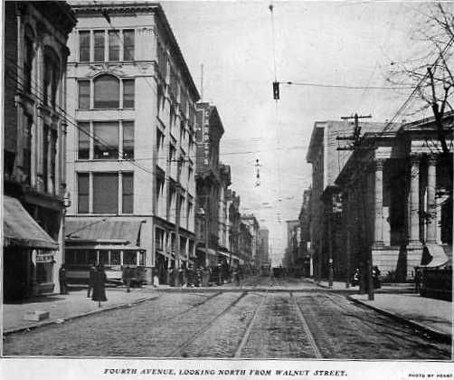 An image of Fourth Avenue, Louisville, looking north from Walnut Street in a Louisville business directory compiled by the Railway Publishing Company in 1903.