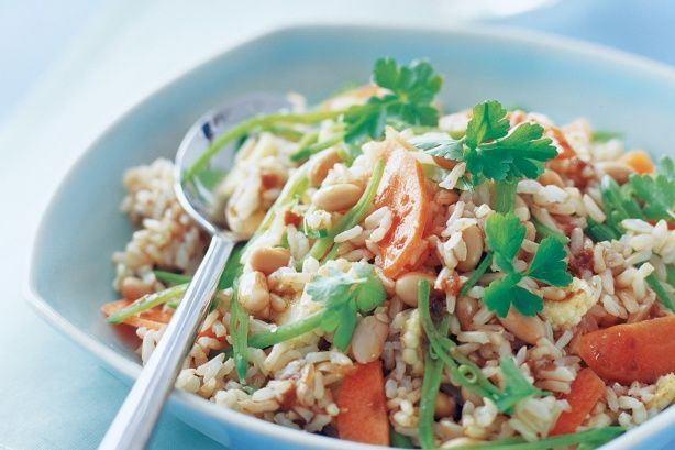 Brown rice salad with soy dressing