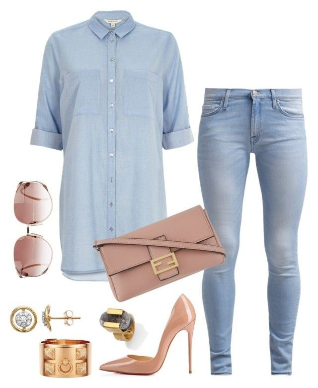 """Untitled #525"" by fashionkill21 ❤ liked on Polyvore featuring River Island, Christian Louboutin, Christian Dior, Hermès, Kelly Wearstler, 7 For All Mankind and Fendi"