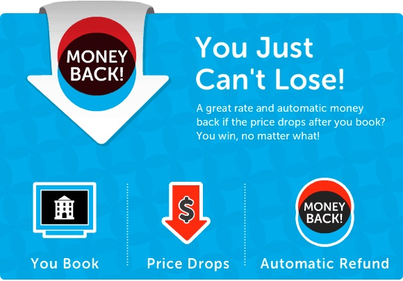 www.tingo.com  When you book a Money Back room on Tingo, you save—even after you book.  If your price drops, we automatically rebook the exact room at the lower rate.