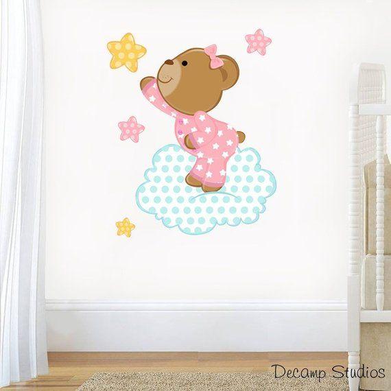 Childrens Personalised Teddy /& Stars Wall Art Stickers Teddybears Murals Decals