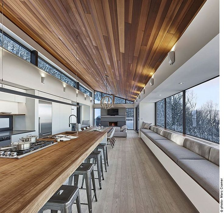 Wooden ceiling brings traditional warmth to the interior