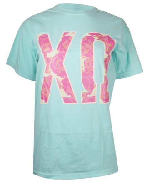 chi omega floral greek letters tshirt by adam block design custom greek apparel sorority